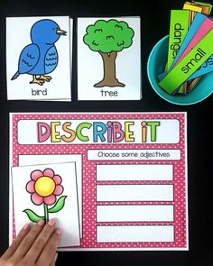 Nursing Notes Discover Adjective Activity - Literacy Center This first grade and second grade activity has students describing pictures (nouns) by choosing appropriate adjectives. Students then use the adjectives in a sentence. E Learning, Preschool Learning Activities, Classroom Activities, Student Learning, Parts Of Speech Activities, Special Education Activities, First Grade Activities, English Activities For Kids, Letter Sound Activities