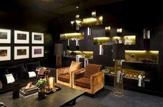 Elegant interiors in dark colors..