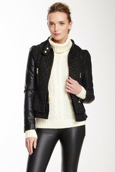 For her: leather & tweed jacket