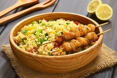 These delectable Honey-Glazed Chicken Skewers with Couscous Salad will be a crowd favorite at your next potluck or dinner party! Moroccan Couscous, Honey Glazed Chicken, Slow Cooker Pork Tenderloin, Clean Eating Chicken, Couscous Salad, Chicken Skewers, Cooker Recipes, Healthy Recipes, Diabetic Recipes