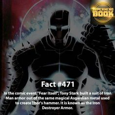 The Iron Destroyer Armor Marvel Facts, Marvel Memes, Marvel Dc Comics, Marvel Avengers, Comic Book Characters, Marvel Characters, Comic Character, Stan Lee, Dr Octopus