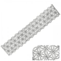 B9000-9WG This Floral Bracelet.7×1.5 inch wide.60grams is made of 18K White Gold. It consists of 280 stones for a total carat weight of 9.19.