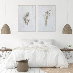 Love this clean and earthy interiors featuring one of the Dried Botanicals print sets. South African Decor, Botanical Wall Art, Botanical Decor, Boho Bedroom Decor, Boho Decor, Art Prints For Home, White Bedroom Furniture, Wall Art Prints, Bedroom Inspiration
