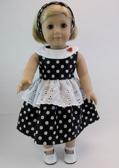 18 inch Doll Clothes American Girl Doll Black White Flowers Eyelet Overskirt Dress Headband  Toys