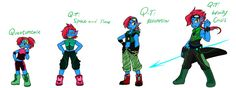 Quantumtale: TimeKid Undyne Outfit Timeline by perfectshadow06.deviantart.com on @DeviantArt