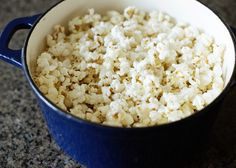 Make Perfect Stovetop Popcorn, using a dutch oven. Corrie's Notes: This made delicious popcorn, but there were some issues. 1. My 5-quart dutch oven was too small. 2. There was too much oil. Next time, I'll use less popcorn and less oil.