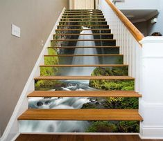 Water Fall Stair Sticker Stair Risers PVC Sticker Mural Stairs Mural Vinyl Decal Wallpaper Removable Peel off & Stick on 60 Stairway Art, Stairway To Heaven, Stairway Lighting, Basement Stairs, House Stairs, Wall Scenery, Escalier Art, Marble Stairs, Decoration Photo