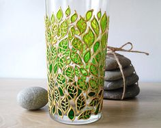 Water Glass Green ombre leaves glass tumbler Hand painted Floral Drinking Glasses nature inspired glassware