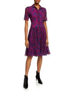 Nanette Lepore Cheetah-print Pleated-skirt Shirt Dress In Magenta Multi Nanette Lepore, Short Sleeve Dresses, Long Sleeve, Silk Crepe, Cheetah Print, Cotton Dresses, Pleated Skirt, Dress Outfits, Wrap Dress