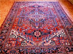 a type of Persian rug, this antique Heriz is 60-70 years old and comes from Heris, East Azerbaijan in northwest Iran