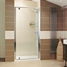 The Pivot Door creates a supremely efficient space saving solution for any bathroom. Bifold Shower Door, Glass Shower Doors, Glass Door, Blinds For French Doors, Bath Screens, Pivot Doors, Frameless Shower, Shower Screen, Door Stopper