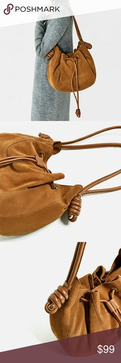 Zara bag Genuine leather.  Brand new. Great all year around Zara Bags
