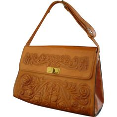 Vintage 50s Hand Tooled and Carved Leather Handbag Purse 3-D Butterfly... ❤ liked on Polyvore featuring bags, ruby lane, handbags, brown leather bag, rosette bag, rose bag, real leather bags and vintage leather bags