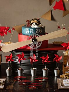 Fantastic cake at a vintage airplane birthday party! See more party ideas at CatchMyParty.com!
