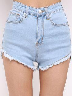 Blue High Waist Fringe Denim Shorts