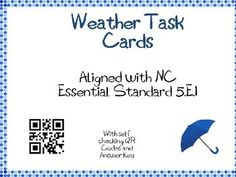 Weather Task Cards 5th Grade Common Core 5.E.1 {QR Codes} Weather Lesson Plans, Weather Lessons, Teaching Weather, Cooperative Learning, Qr Codes, Elementary Education, 5th Grades, Teacher Newsletter, Teacher Pay Teachers