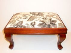 Beautiful Mahogany Footstool Reupholstered in by PenelopesPillowz