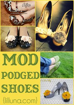 Mod Podged Shoes - such a fun and CUTE idea!! { lilluna.com }
