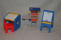 LOT Vintage LITTLE TIKES Dollhouse Furniture Work Bench Tool  Bench,Desk,Easel #LittleTikes