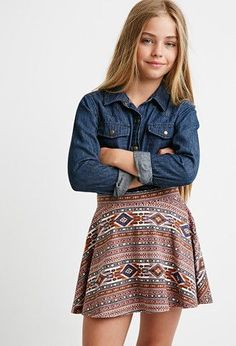 Southwestern Print Skater Skirt (Kids) | Forever 21 girls - 2000173005 Dresses For Tweens, Outfits For Teens, School Outfits, Jade Weber, Preteen Girls Fashion, Tween Girls, Cute Girls, Cute Girl Outfits, Little Girl Outfits