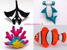 SEA CREATURES and FISHES. OCEAN CREATURES. 1. Seahorse 2. Octopus 3. Seastar (light blue) 4. Eagle ray 5. Sting ray 6. Sea snail 7. X-ray fish 8. Shrimp 9. Whale 10. Pufferfish 11. Flying fish 12. Anglerfish 13. Seaweed 14. Manta ray 15. Hammerhead shark 16. Pearl shell 17.