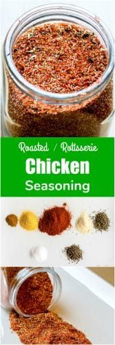 This Chicken Seasoning makes absolutely the BEST, most flavorful roasted or rotisserie chicken! The best part is that this chicken seasoning is easy to make and you probably already have all the ingredients right in your pantry! via Flavor Mosaic Rotisserie Chicken Spice Recipe, Roasted Chicken Seasoning Recipe, Roast Chicken Rub, Chicken Spices, Chicken Flavors, Chicken Recipes, Best Seasoning For Chicken, Recipe Chicken, Recipes