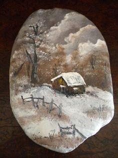 Ζωγραφική σε βότσαλο, χιονισμένο τοπίο - Painted pebble, snowscape