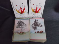 Double Deck of Cards Horses Ponder and Assault by R.H. Palenske Vintage Playing Cards