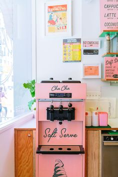 Maristella rounds up 5 of New York's popular pink restaurants, coffee shops and boutiques like Pietro Nolita, Cha Cha Matcha and Mansur Gavriel. Pink Restaurant, Restaurant Design, Cafe Interior Design, Cafe Design, Soft Serve Machine, Showroom, Bakery Design, Photo Wall Collage, Machine Design