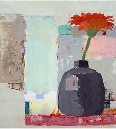 Sydney Licht Still Life with Red Flower 2015 Acrylic Flowers, Abstract Flowers, Still Life Art, Abstract Drawings, Arte Floral, Art Plastique, Pottery Art, Painting Inspiration, Art Images