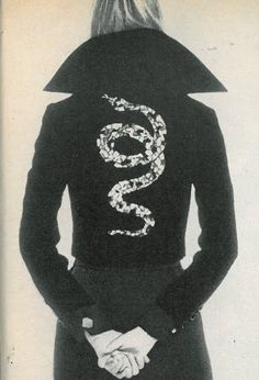 Black velvet jacket with black and silver sequined cobra by Valentino, from US Vogue: September 15th, 1971