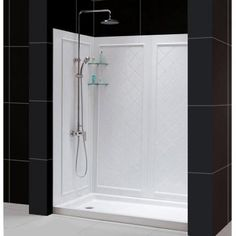 DreamLine Infinity Z 30 In. X 60 In. Semi Frameless Sliding Shower Door In  Brushed Nickel With Right Drain Base And Back Wall