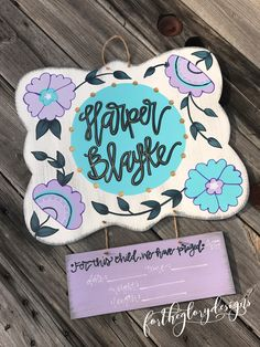 purple + aqua floral // hospital door hanger for girls // the peanut shell zoe crib bedding // fortheglorydesigns on etsy Hospital Door Hangers, Baby Door Hangers, Wooden Door Hangers, Rustic Baby, Paint Party, Baby Decor, Crafts To Sell, Crib Bedding, Baby Gifts