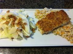 macadamia and coconut encrusted halibut over Israeli couscous with Asian pear, walnut and fennel salad