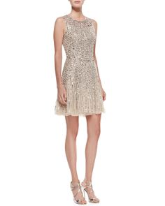 Aidan Mattox Sequined Beaded Deco Cocktail Dress - Neiman Marcus