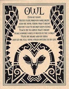 Owl Prayer Animal Spirit Wicca Native American Celtic Parchment Poster Art | eBay