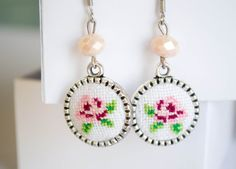 Items similar to Hand embroidered earrings with flower cross stitch ornament Rose earrings Handmade jewelry on Etsy Rose Earrings, Diy Earrings, Earrings Handmade, Crochet Earrings, Handmade Jewelry, Cross Stitching, Cross Stitch Embroidery, Diy Arts And Crafts, Needlepoint