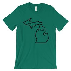 Have you ever wanted to just pack up your things and move to a totally different state and change your identity? Choose our MI Bird Hand T-Shirt [product-u