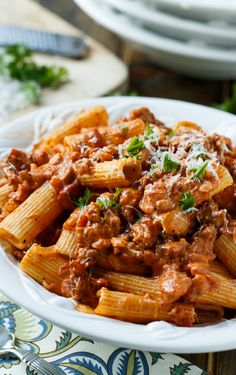 Sausage Rigatoni with Spicy Tomato Cream Sauce...subbed in shrimp for sausage.  Added it in last five minutes of simmering tomato sauce.