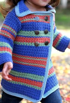 Pea Coat Sweater - Crochet 2-8yrs   I must knit it
