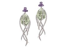Arya Esha. From the Galaxy collection, these recycled 14-karat white gold earrings offer faceted pear-shaped prsaiolite, amethyst and diamonds ($3,950).