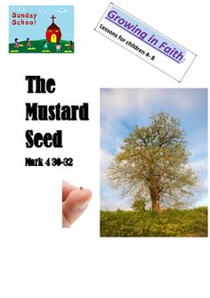 A comprehensive Sunday School lesson- 4-8 years about Mark 4 30-32 THE MUSTARD SEED PARABLE.Children discuss their own growth and use provided popstick puppets to help guide the conversation. They look at the stimulus picture about the mustard seeds and mustard tree.Children sing the GRATITUDE song and learn a new action poem LIKE A SEED.They plant a pea seed and colour pictures about growth- about themselves as well as the mustard seed.Children take a GRATITUDE sheet home to fill in each da... Mustard Seed Parable, Mark 4, Church Ministry, Sunday School Lessons, Colorful Pictures, Teacher Pay Teachers, Puppets, Gratitude, Conversation