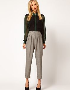 ASOS Peg Trousers In Check