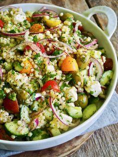Pasta Salad, Cobb Salad, Mat, Couscous, Vinaigrette, Tapas, Ethnic Recipes, Drinks, Food