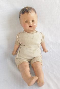 1930's Vintage Composition Baby Doll with Tin by MyVintageHatShop