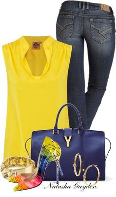 Rainbow pumps! Wow! It's hard to believe that anything could take attention away from this gorgeous yellow Tori Burch blouse. Love the navy handbag.