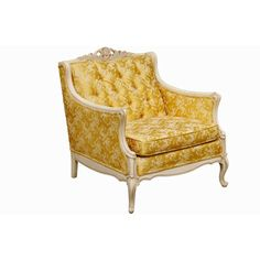 Hollywood Regency/Louis XV Style Bergeré in Antique White & Gold