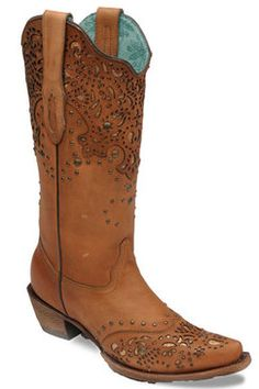 Corral-Boots-Women's-Honey-Glitter-Overlay-Wingtip-Cowgirl-Boots