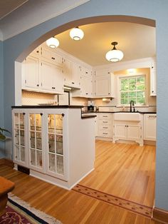 like this archflooring transition cabinets and schoolhouse lights 1940 kitchen design ideas pictures remodel and decor - Dining Room Remodel