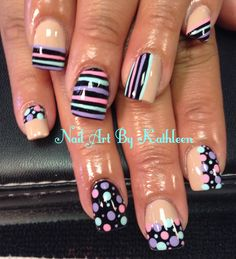 Stripes & Dots Inspired by Robin Moses #nails #nailart #inspiredbyrobinmoses